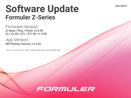October 2019 Formuler Z-Series Software Update