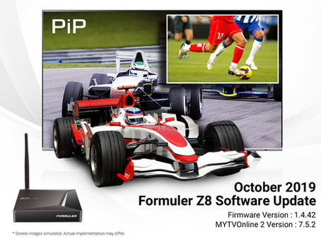 October 2019 Formuler Z8 Software Update