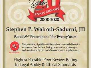 20th Anniversary Martindale-Hubbell® AV® Preeminent™ Rating Award
