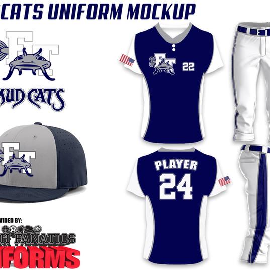 Mudcats Custom Baseball Uniform Package.