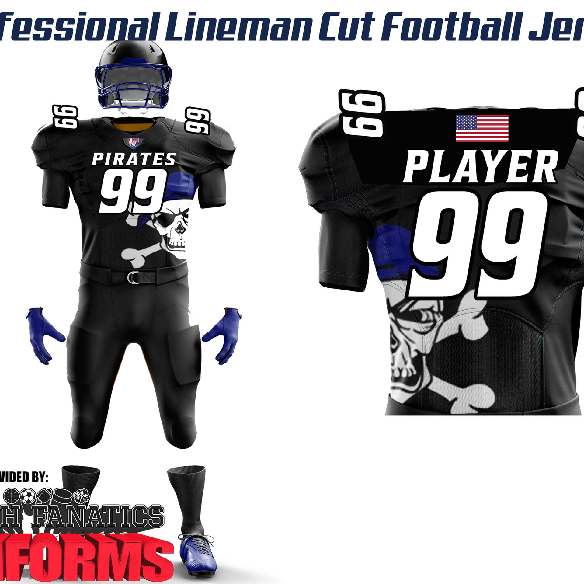 Professional Lineman Cut Football Jersey