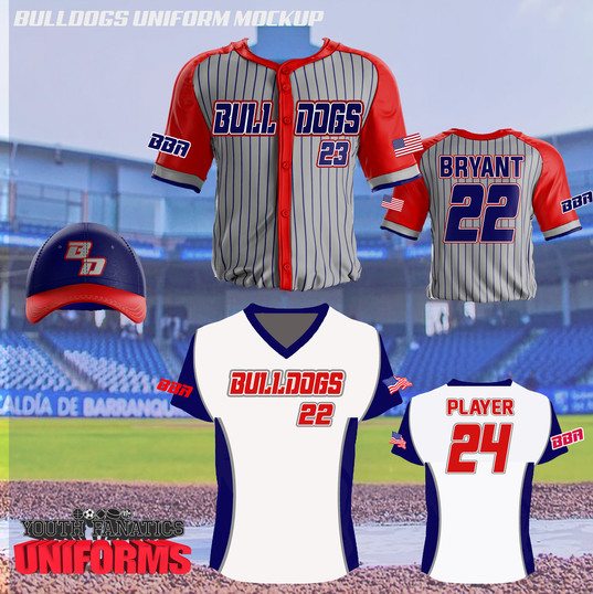 Bulldogs Custom Baseball Uniform Mockup.
