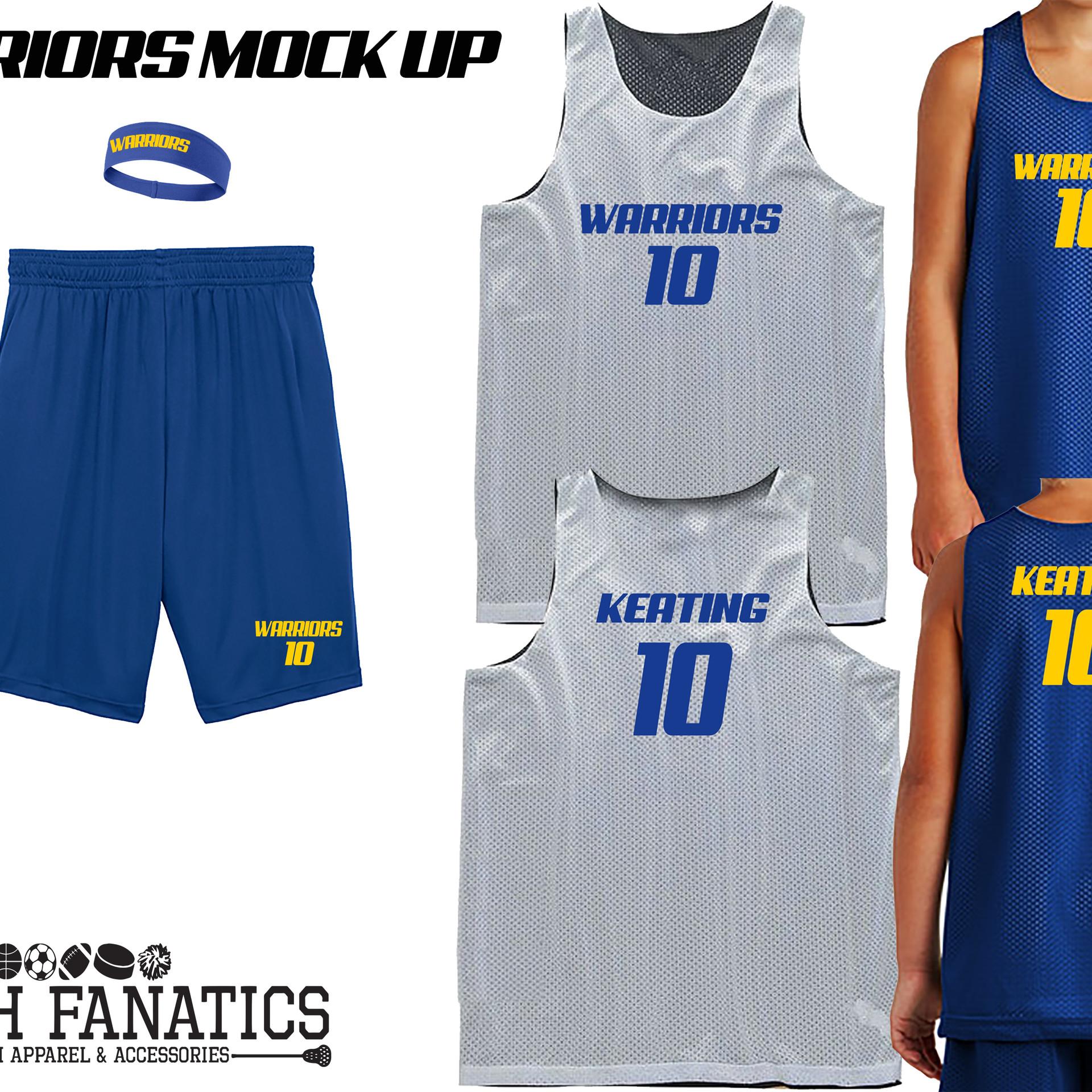 Warriors reversible custom basketball je
