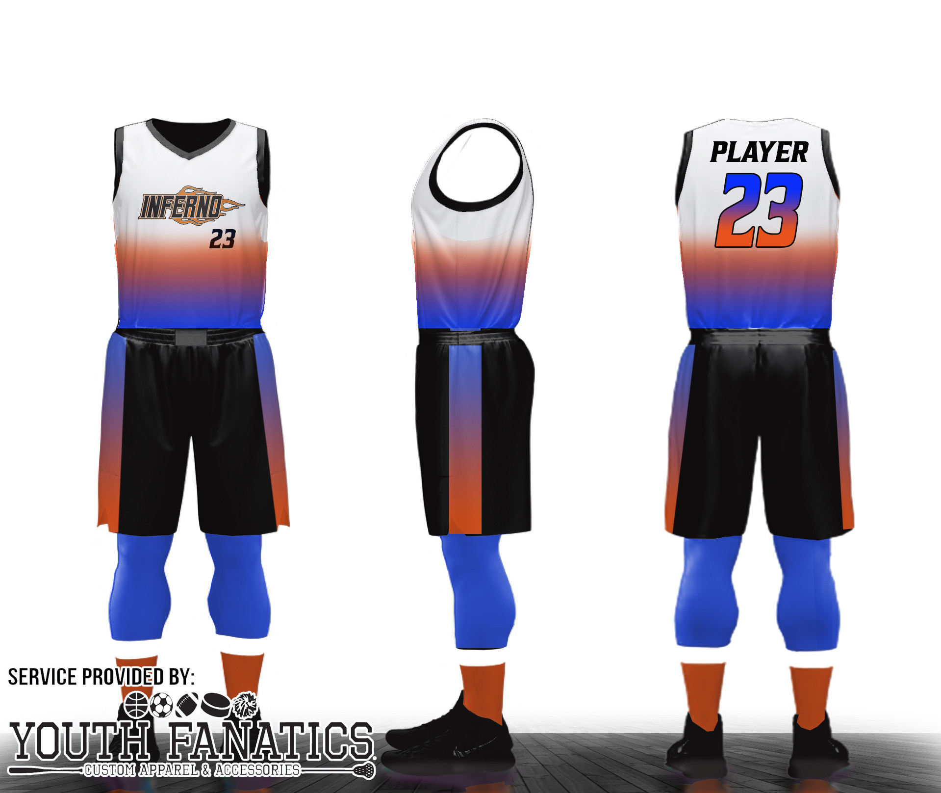 Inferno Custom Basketball Uniform mockup
