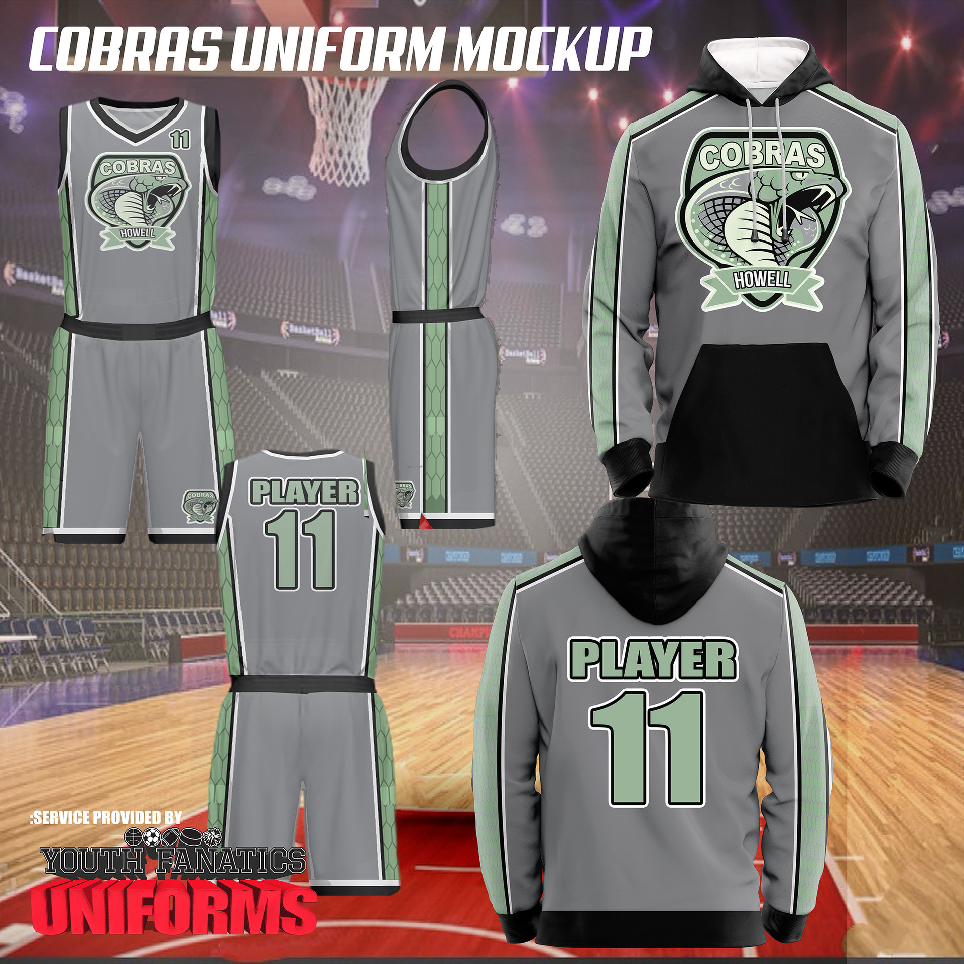 Cobras custom basketball uniform design 2