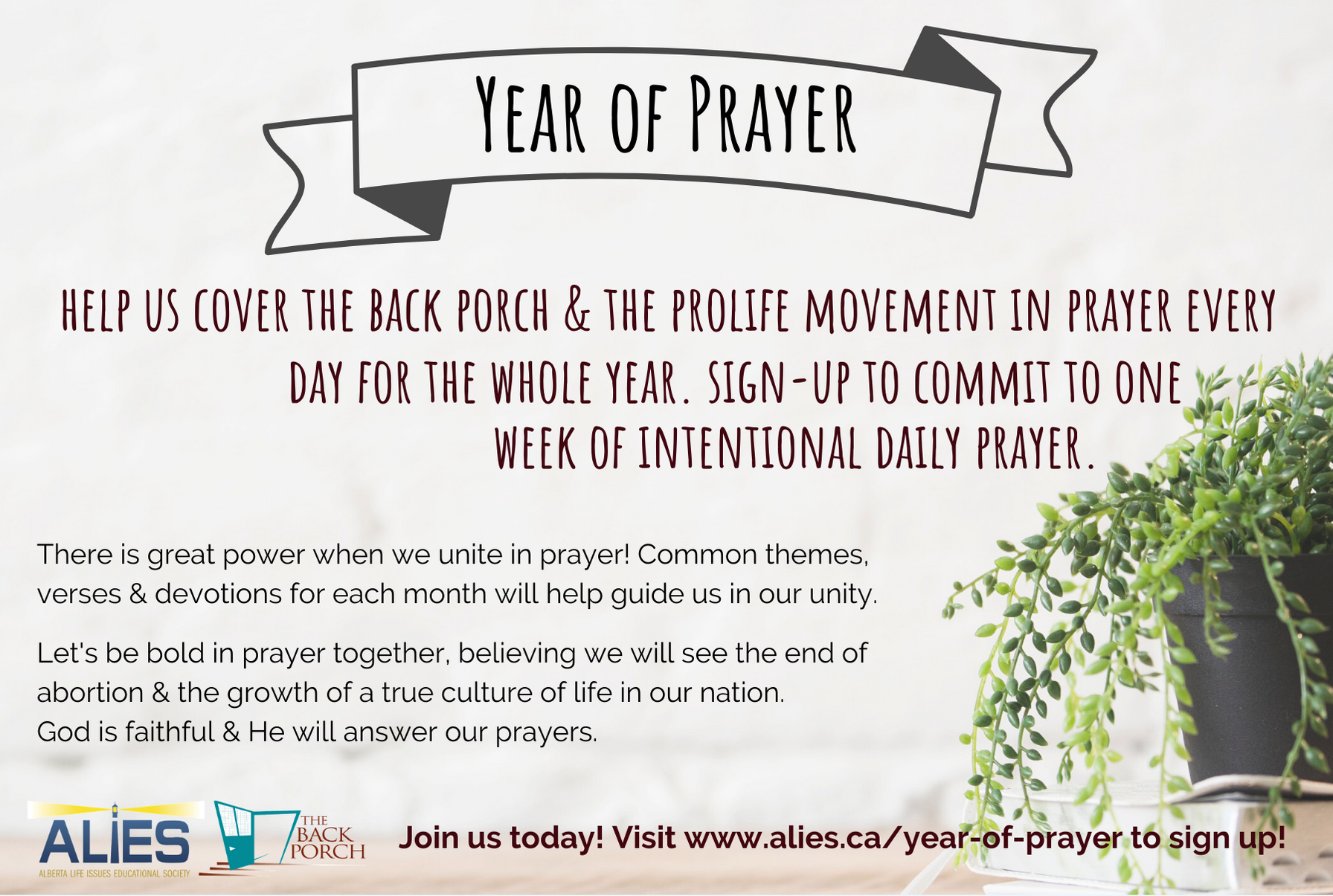 Year of Prayer postcard- front