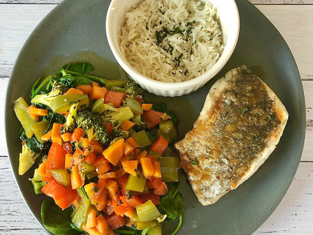 Thai inspired Barramundi with Asian Stir Fry Veggies and Coconut Rice