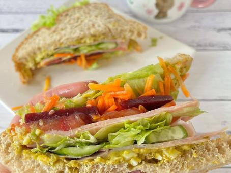 Curried Egg, Ham & Salad Sandwich