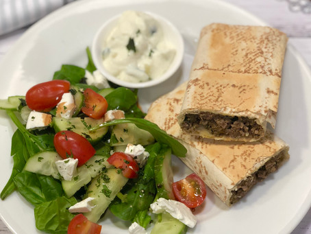 Spicy Lamb Mountain Bread Sausage Rolls with a Greek Salad
