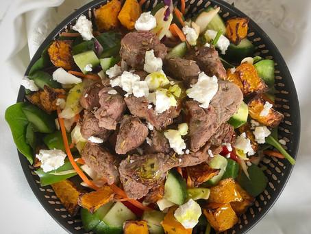 Lamb, Pumpkin and Goats Cheese Salad