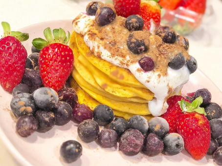 Butternut Pumpkin Pancakes with Mixed Berries