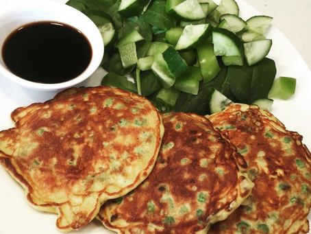 Pea, Feta & Mint Fritters with a Green Salad