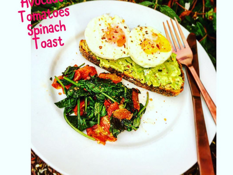 Poached Eggs with Spinach, Tomato and Avocado