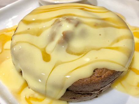 Choc banana pudding with caramel custard sauce