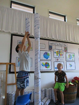 Children experimenting with gravity