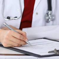 Doctor filling employment and Insurance forms WSIB, Blue Cross