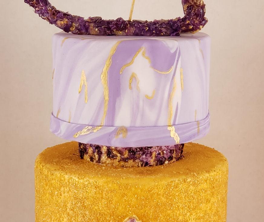 Marbled, geode cake