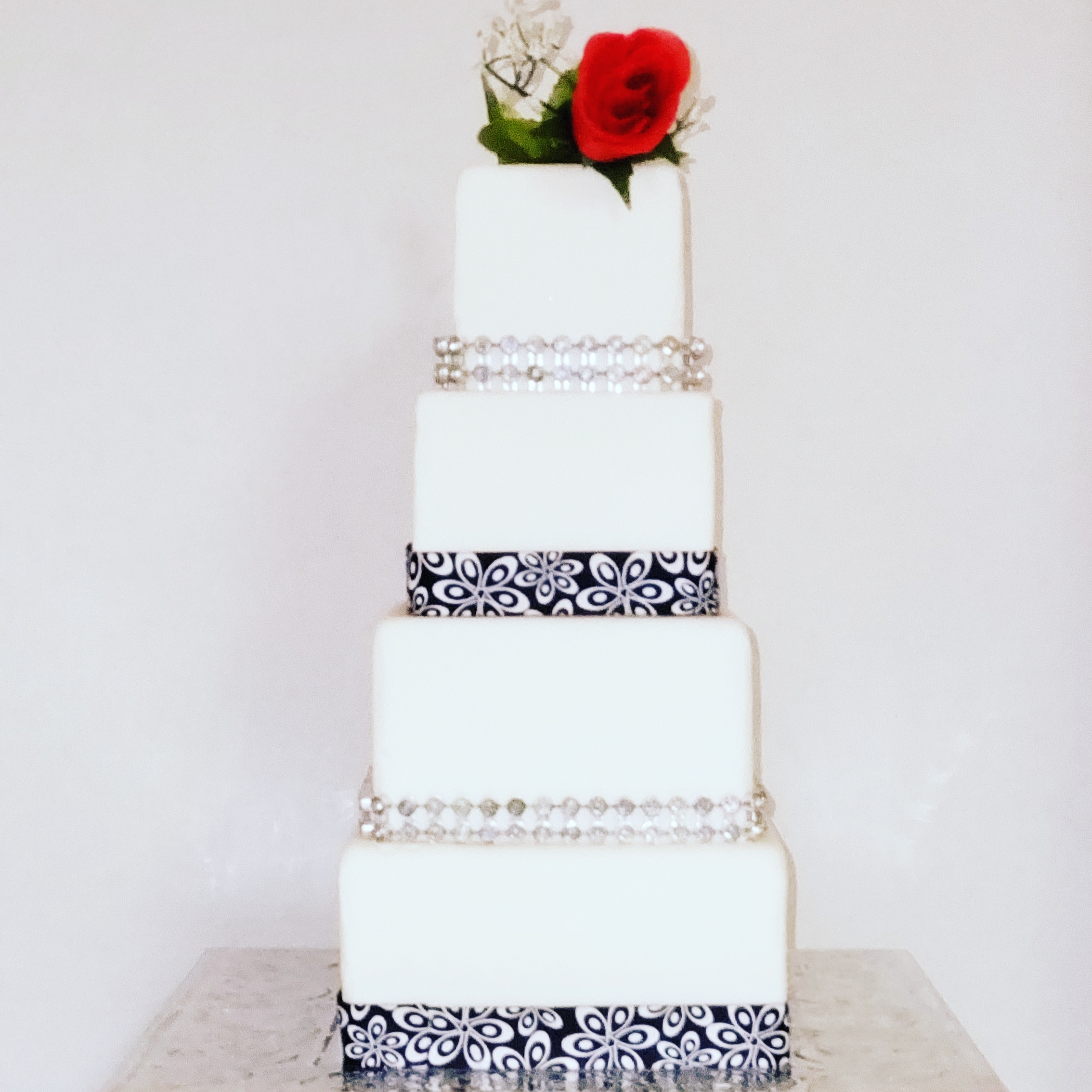 Square 4 tier wedding cake