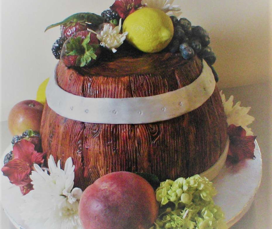 Wine casket cake