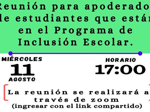 Tema: Reunión apoderados Programa Inclusión Escolar - Reunión Zoom de Colegio Manantiales de Elqui