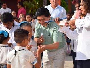 """Inicia Programa Piloto de Cepillado Diario, en la Escuela Primaria """"Ulises Sansores"""", en Campeche, C"""