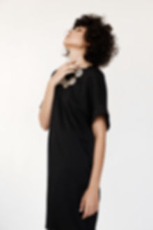 black satin silk T dress