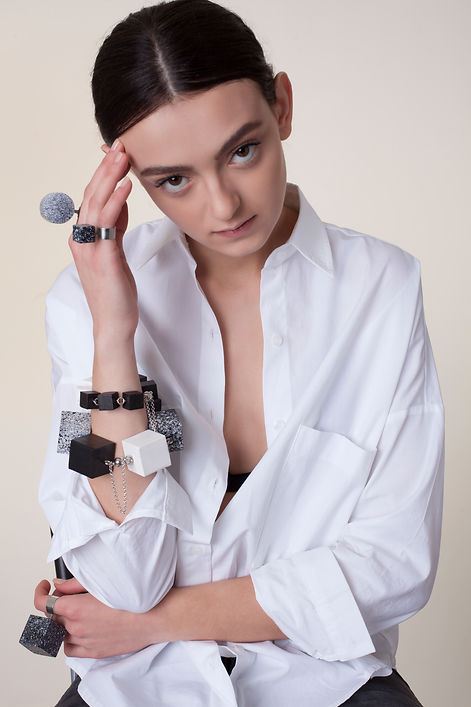 Black ho'Memphis' collection, handmade statement jewelry, made out of hand crafted and hand painted wood and plaited silver. Bold, unique, avant garde, fashion jewelry.