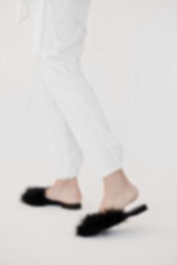 white leisure satin silk pants