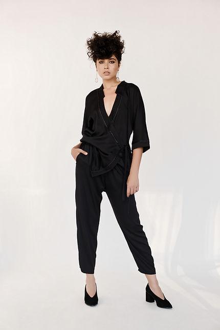 black silk satin kimono suit