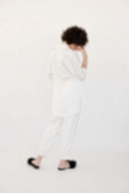 white satin silk kimono suit