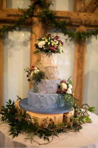 Wedding cake flower display