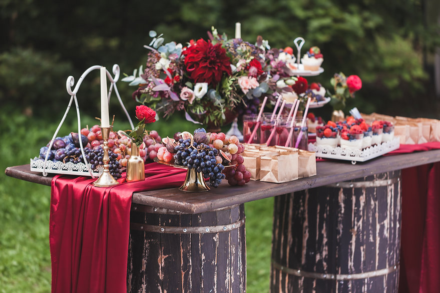 wedding-reception-wooden-table-standing-
