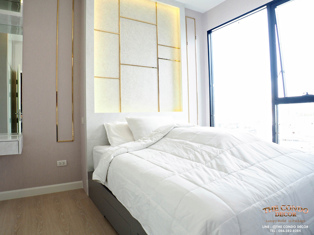 หัวเตียงพร้อมไฟตกแต่ง LED  white newyork #แต่งคอนโดกับThecondodecor