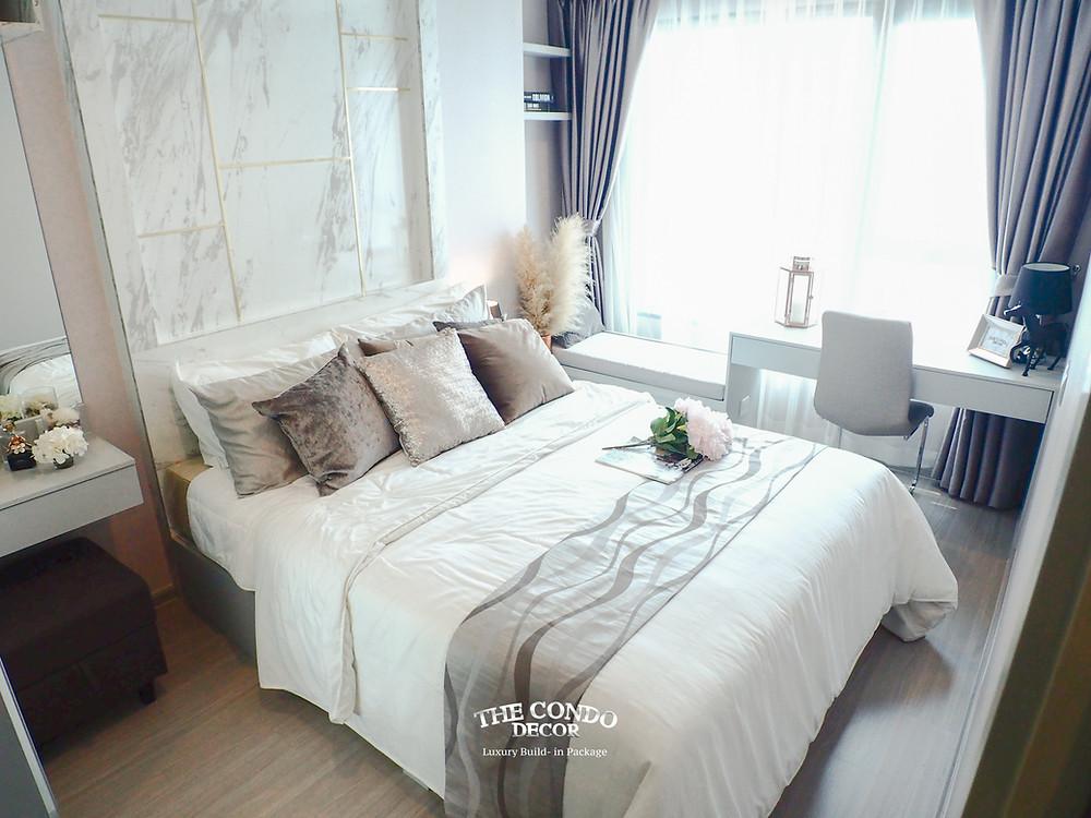 แต่งห้องนอนโทนสีขาว ตกแต่งภายในคอนโด แต่งคอนโดแบบแพ็กเกจ บิ้วอินคอนโดกรุงเทพ