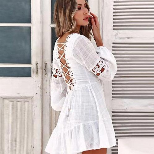 White v Neck Backless Lace Mini Dress