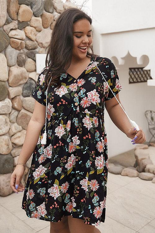 Plus Size Boho Floral Print Dress