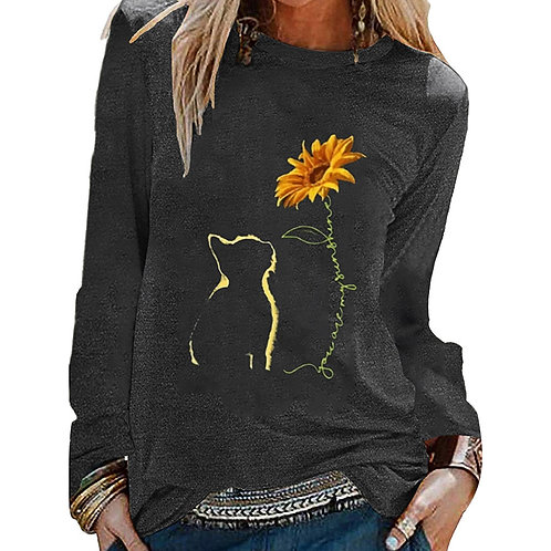 Sunflower Cat Long Sleeve T-Shirt (plus sizes available)