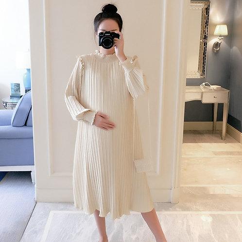 Maternity Long Sleeve Pleated Dress