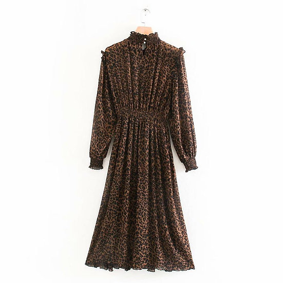 Long Sleeve Animal Print Elastic Waist Midi Dress