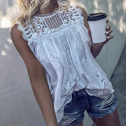 White Lace Sleeveless Tops