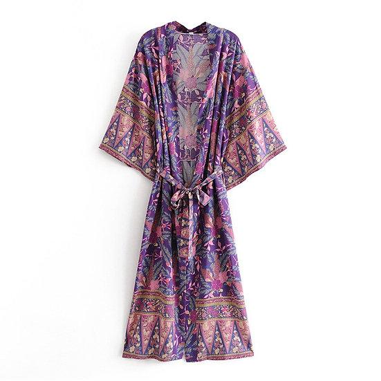 Purple Floral Print Kimono