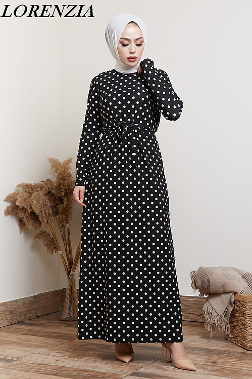 Black and White Spotted Belted Maxi Dress