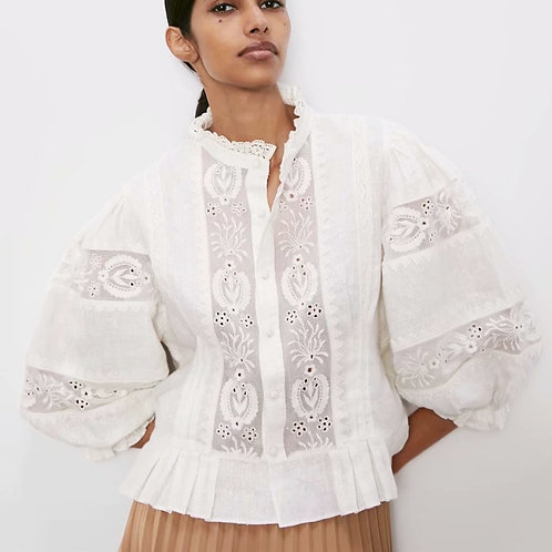 Embroidered White Lace Blouses Puff Sleeve
