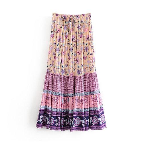 Purple Floral Print High Elastic Waist  A-Line Maxi Skirt