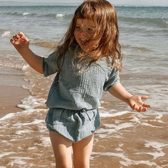 Cotton Linen Tops + Shorts Set Sizes 3-24 months