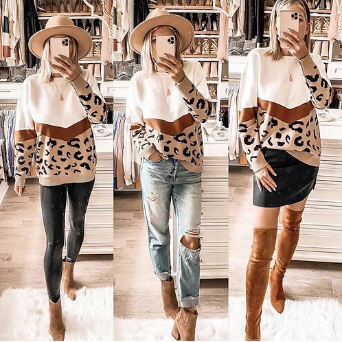 Leopard Knitted Sweater