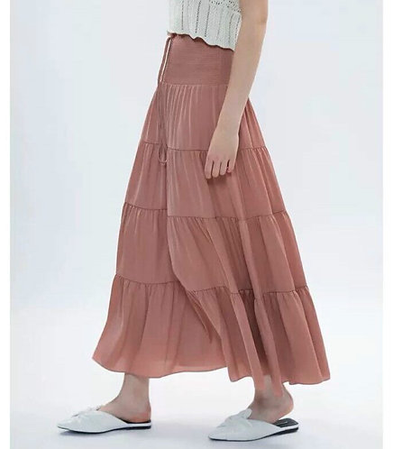High Elastic Waist Maxi Skirt