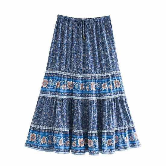 Floral Printed Elastic Waist Midi Skirt