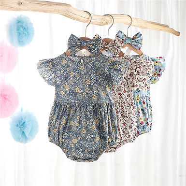 Floral Print Romper +  Headband Sizes 0-2 years