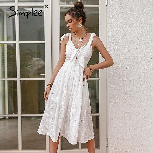 White Embroidered V-Neck Midi Dress